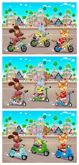 Os animais de estimação engraçados estão andando de bicicleta scooter e scooter brinquedos na cidade ilustração vetorial o fundo pode repetir-se perfeitamente
