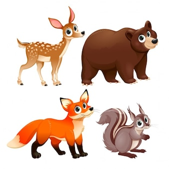 Os animais engraçados dos personagens madeira cervos marrom raposa urso e vector esquilo dos desenhos animados isolados