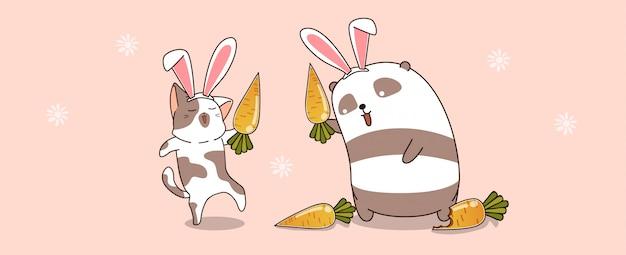 Os animais kawaii estão usando orelhas de coelho na primavera