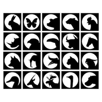 Os animais selvagens coleção das silhuetas