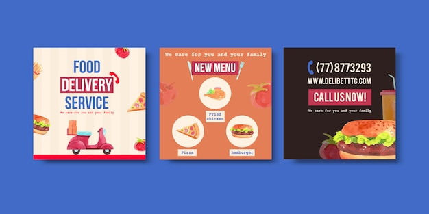 Os anúncios de entrega projetam com homens, comida, vegetais, pizza, ilustração em aquarela de hambúrguer.