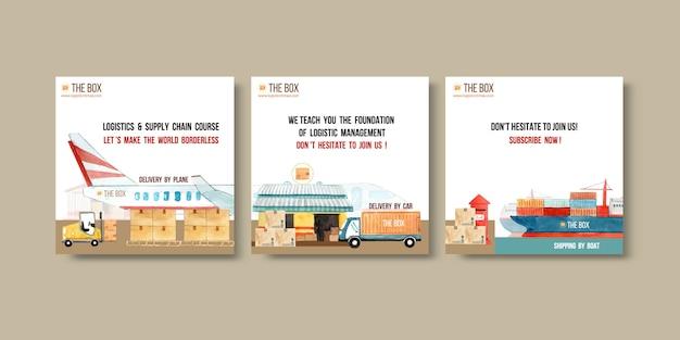 Os anúncios de logística projetam com avião, caixa, empilhadeira, aquarela brilhante criativa conjunto ilustração.