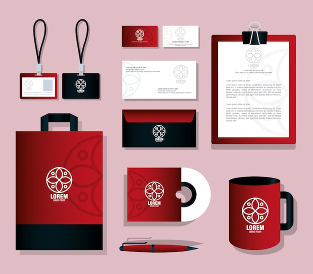 Os artigos de papelaria de maquete fornecem cor vermelha com sinal branco, identidade da maquete da marca corporativa