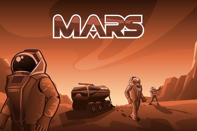 Os astronautas caminham em marte.
