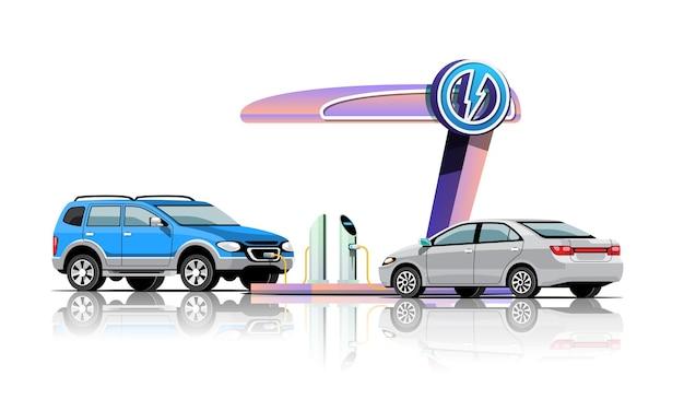 Os automóveis elétricos estão carregando na estação de energia da garagem, ilustração vetorial design plano