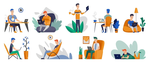 Os autônomos trabalham em casa em condições confortáveis. personagens de desenhos animados trabalhando em casa. passe algum tempo em casa durante a quarentena. ser seguro.