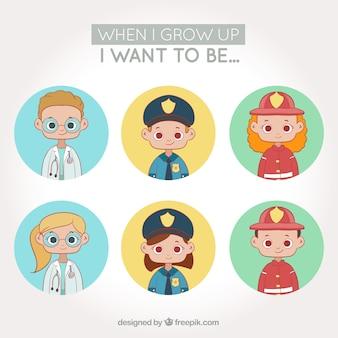 Os avatares de trabalhadores embalam com crianças