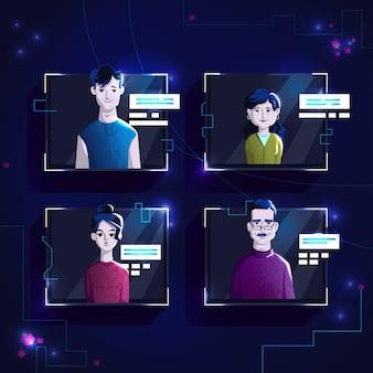 Os avatars modernos dos povos na roupa ocasional, ajustaram a ilustração dos desenhos animados do vetor.