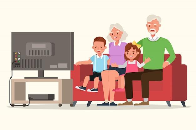 Os avós com seus netos personagem vector design.