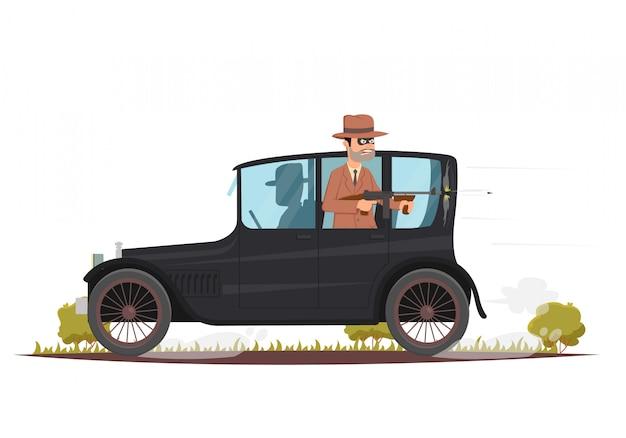Os bandidos fogem em um carro retrô após o assalto e são baleados por uma metralhadora thompson.