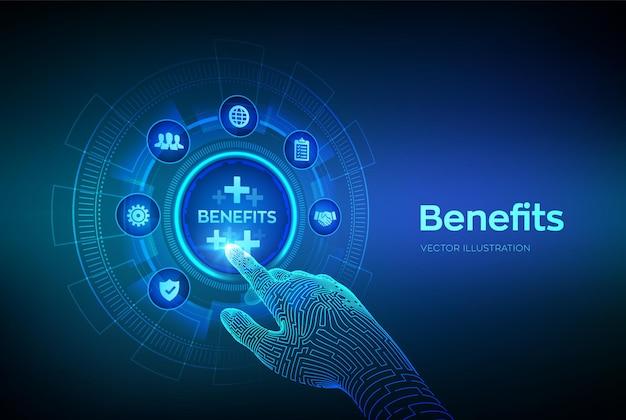 Os benefícios dos funcionários ajudam a obter o melhor conceito de recursos humanos na tela virtual. negócios com fins lucrativos, benefícios, seguro saúde. interface digital tocante de mão robótica. ilustração vetorial.