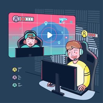Os blogueiros jogam jogos ao vivo em seus canais em uma audiência mundial. os blogueiros de jogos são muito populares entre os jogadores. ilustração plana
