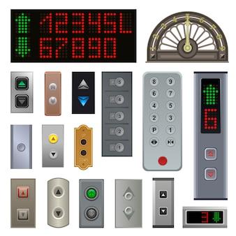 Os botões do elevador vector levantam o botão metálico acima nos números do painel de controle digital
