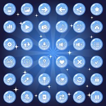 Os botões e o design do conjunto de ícones para o jogo ou tema da web são de cor azul.