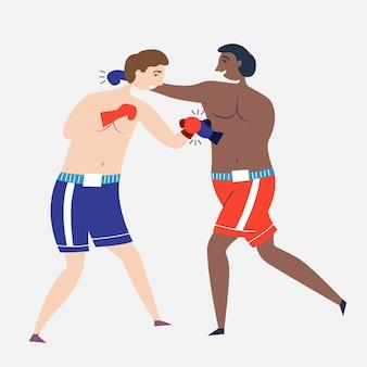 Os boxeadores lutam entre si com luvas