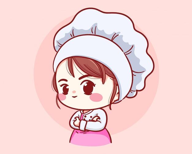 Os braços bonitos da menina do cozinheiro chefe da padaria cruzaram o logotipo de sorriso da ilustração da arte dos desenhos animados.