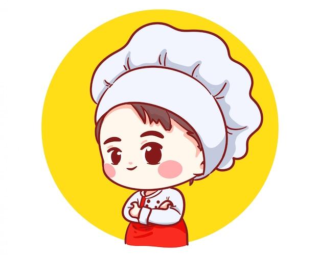 Os braços bonitos do menino do cozinheiro chefe da padaria cruzaram o logotipo de sorriso da ilustração da arte dos desenhos animados.