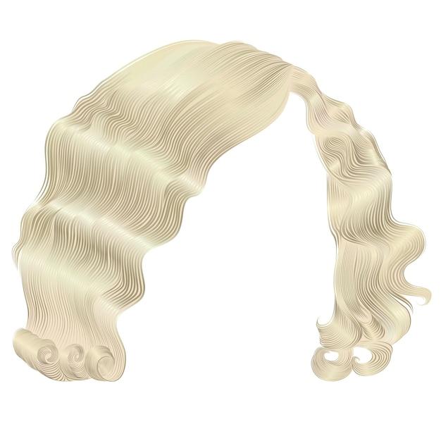 Os cabelos da mulher na moda são cores loiras. cachos de estilo retro. 3d realista.