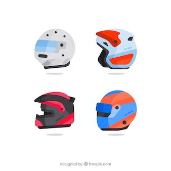 Os capacetes da motocicleta embalar