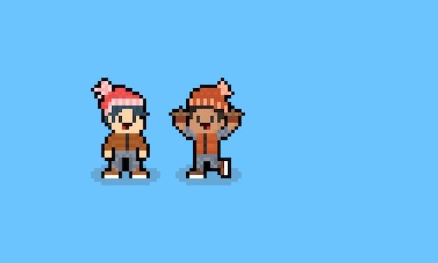 Os caráteres do menino do outono da arte do pixel com bobble o chapéu.