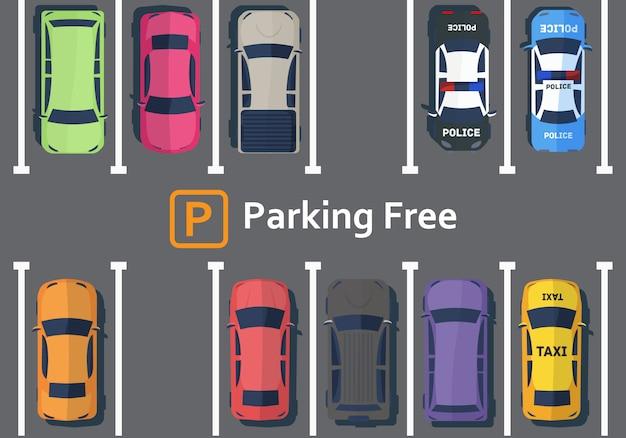 Os carros estão de pé no estacionamento vista de cima.