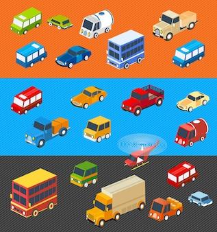 Os carros planos isométricos conjunto isotérmico de veículos para criatividade e design