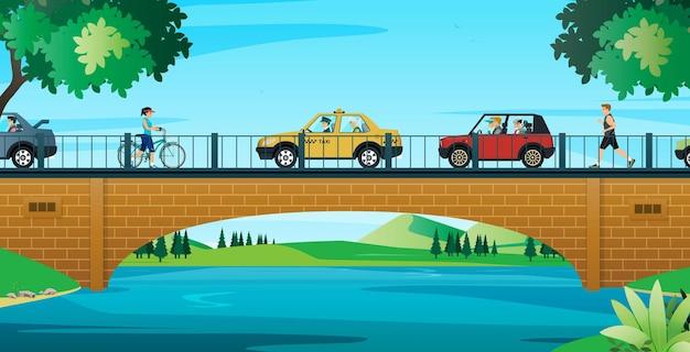 Os carros se movem na ponte e as pessoas os usam para fazer jogging