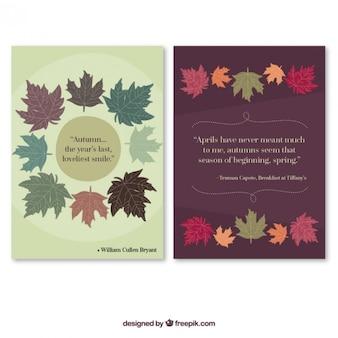 Os cartões bonitos do outono