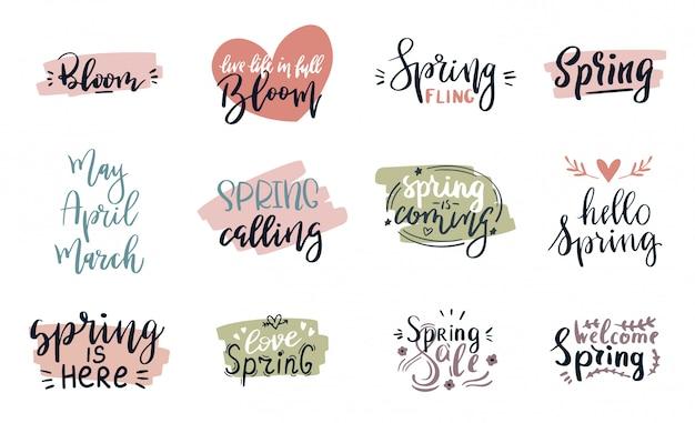 Os cartões da rotulação do tempo de mola ajustaram o cartaz especial da tipografia da venda da primavera na ilustração de cores cor-de-rosa, verde e branca. citação de texto artesanal de primavera ou verão