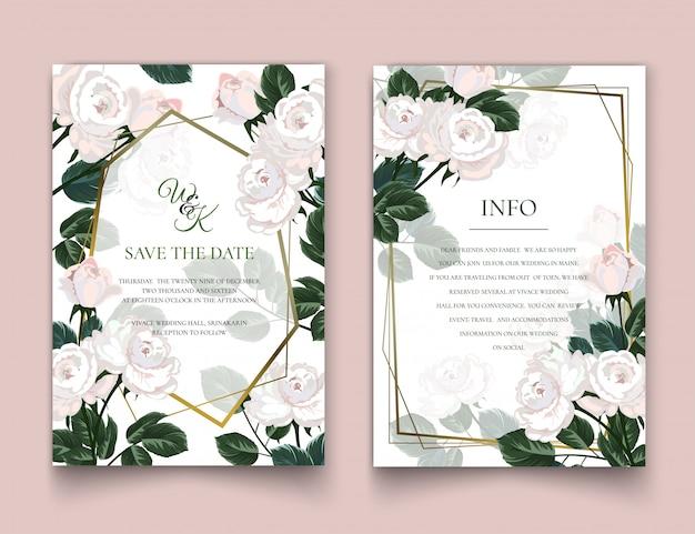 Os cartões de convite de rosas brancas.