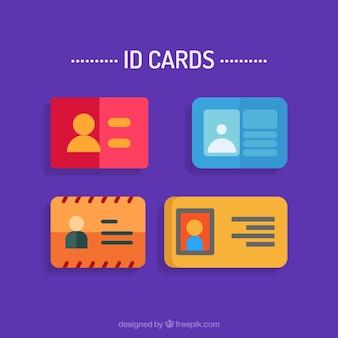 Os cartões de identificação definido