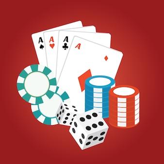 Os cartões do casino e chips no fundo vermelho