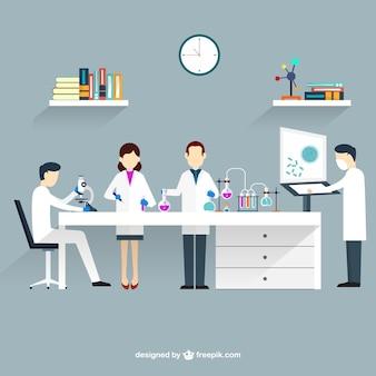 Os cientistas em laboratório