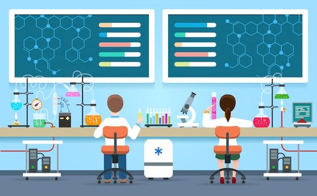 Os cientistas pesquisam em laboratório