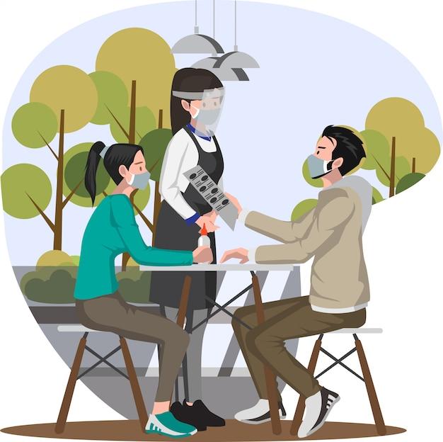 Os clientes estão dando seu pedido de almoço para a ilustração da garçonete