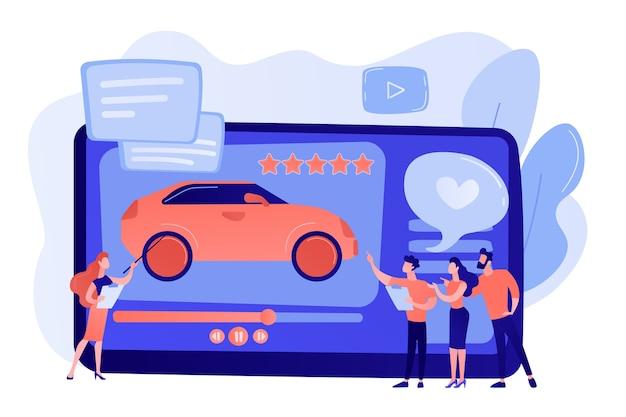 Os clientes gostam de vídeos com especialistas e avaliações de carros modernos com estrelas de avaliação. vídeo de avaliação de automóveis, canal de test drive, conceito de publicidade em vídeo automotivo