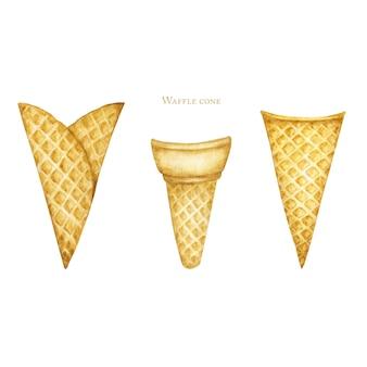 Os cones de gelado vazios ajustaram-se no fundo branco. ilustração em aquarela realista casquinha de sorvete saborosa isolada