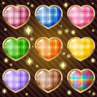 Os corações de ícone e forma e a linha de design de borda de ouro escocês nove cores.