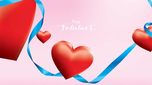Os corações românticos vermelhos coloridos do valentim 3d dão forma ao voo e à fita de seda azul de flutuação no fundo cor-de-rosa.