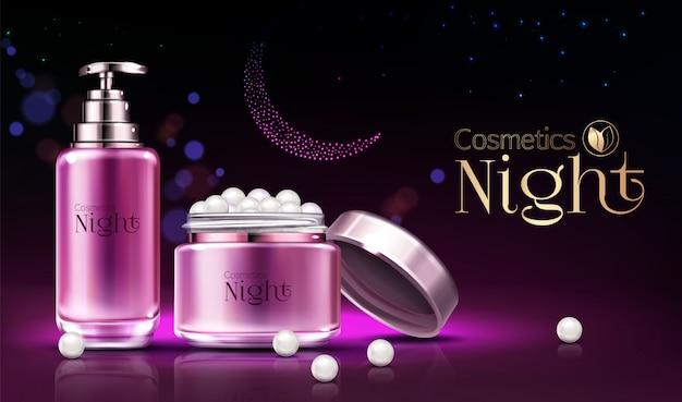 Os cosméticos da noite dos skincare das mulheres alinham a bandeira realística do anúncio dos produtos, cartaz.