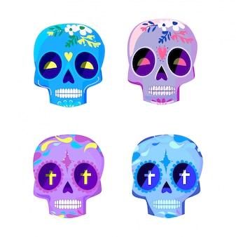 Os crânios coloridos decorativos ajustaram o dia da ilustração inoperante do vetor. diâmetro mexicano de los muertos.
