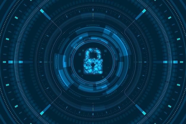 Os dados claros azuis travam o ícone e circundam a tela digital de hud na ilustração escura do fundo, conceito da tecnologia da segurança do cyber.