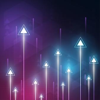 Os dados da velocidade e da tecnologia da seta de néon carregam o sumário com fundo colorido