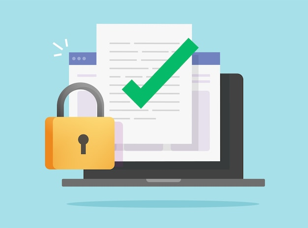 Os dados do documento protegem o acesso on-line confidencial bloqueado no laptop