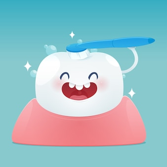 Os dentes bonitos dos desenhos animados felizes sorriem e escovam a limpeza dos dentes.
