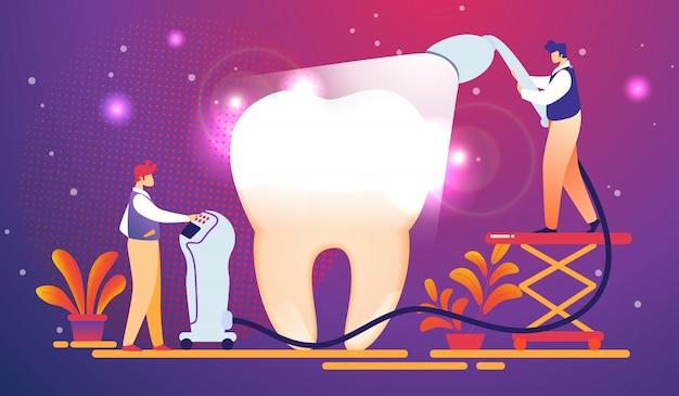 Os dentistas colocam a luz que cura o enchimento no dente enorme.