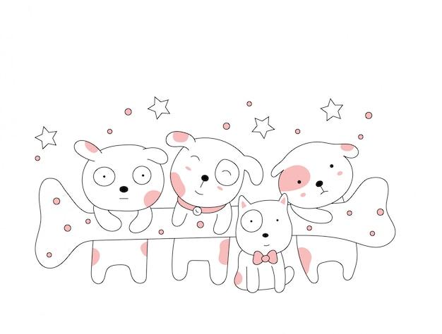 Os desenhos animados animais cão fofo sobre fundo branco. estilo desenhado mão