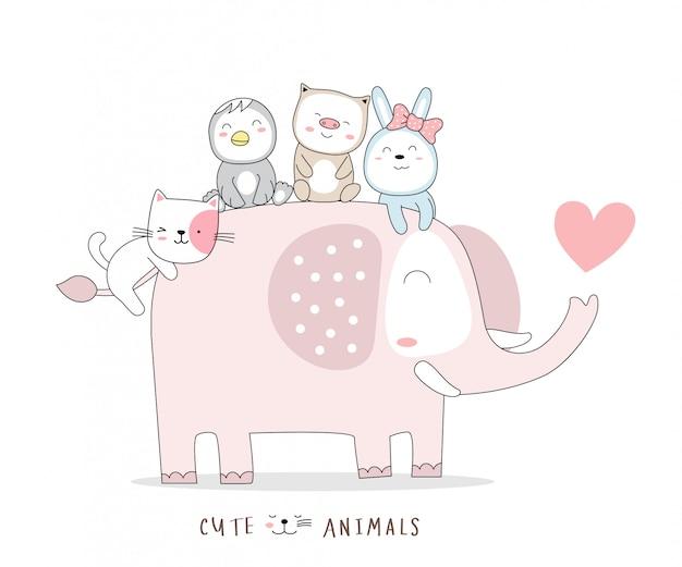 Os desenhos animados animais do bebê fofo elefante com pato, porco e coelho. estilo desenhado à mão