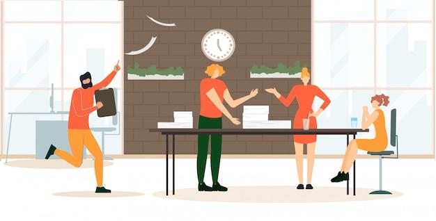 Os desenhos animados da reunião do escritório da bandeira da propaganda lisos.