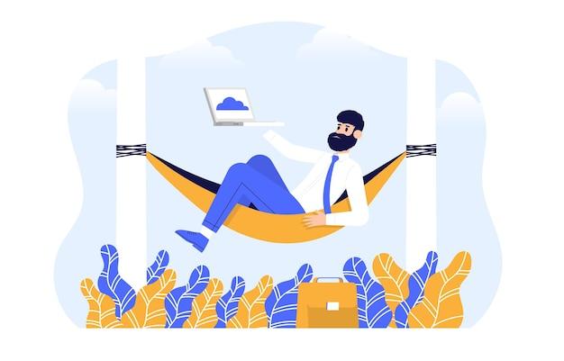 Os desenvolvedores que estão mudando para o online trabalham com uma reunião virtual de serviço de computação em nuvem Vetor Premium